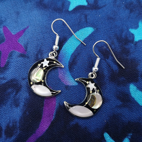 Black Moon and Star Earrings