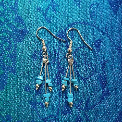 Pisces Turquoise Triple Drop Earrings
