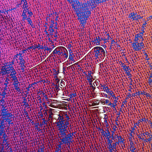 Scorpio Garnet Spiral Earrings