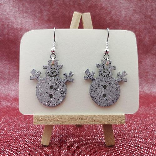 Snowman Earrings Silver Glitter