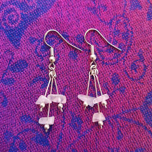 Libra Rose Quartz Triple Drop Earrings