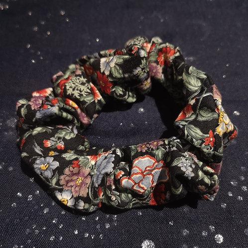 Flowery Black Scrunchie