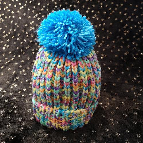 Child's Blue Pastel Bobble Hat