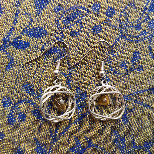 Gemini Tiger Eye Squiggle Earrings
