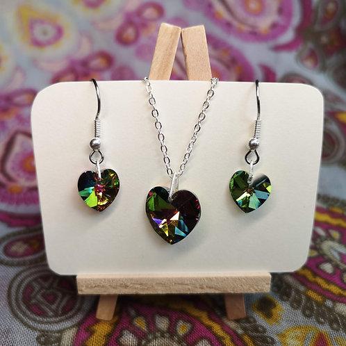 'Kaleidoscope' Swarovski Heart Jewellery Set