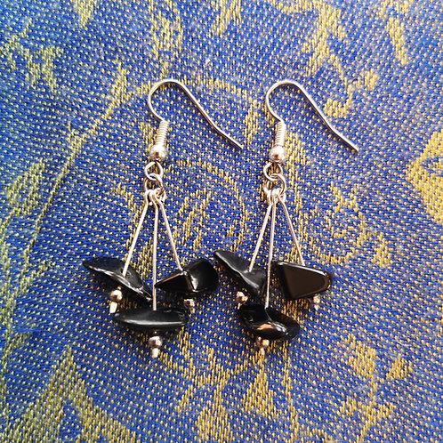 Capricorn Black Onyx Triple Drop Earrings