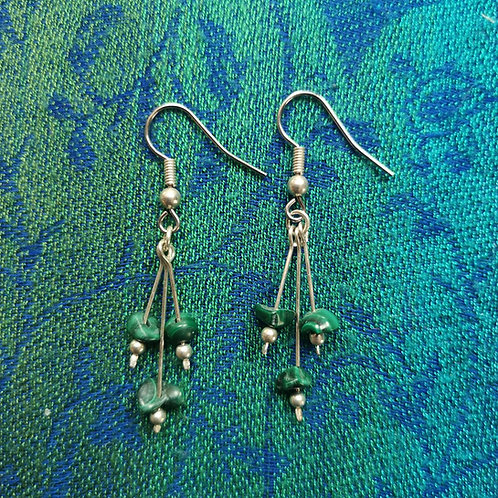Sagittarius Malachite Triple Drop Earrings