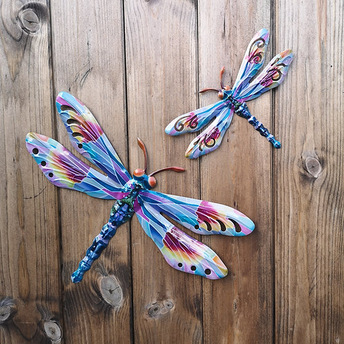 Lilac Dragonfly Metal Wall Plaque