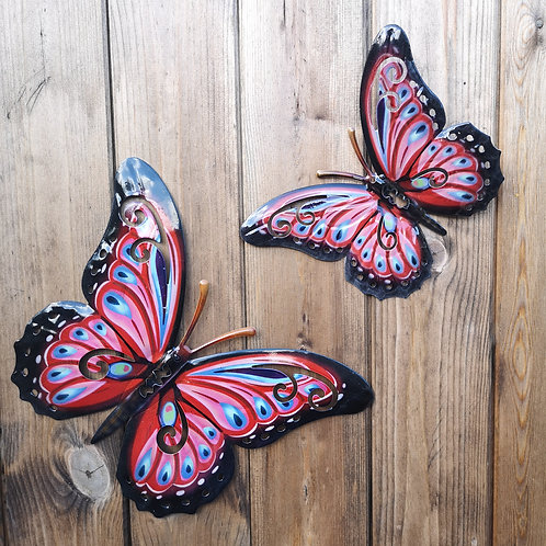 Red Butterfly Metal Wall Plaque