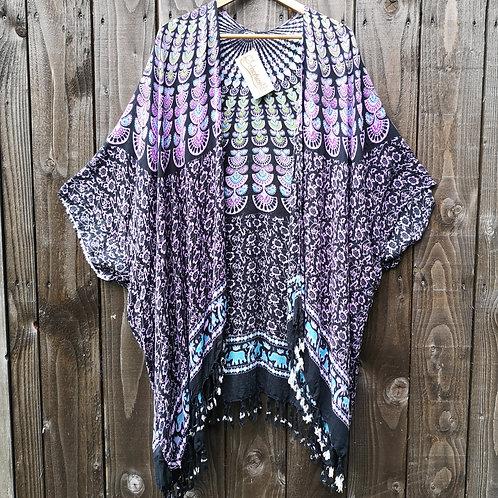 Purple Peacock Kimono
