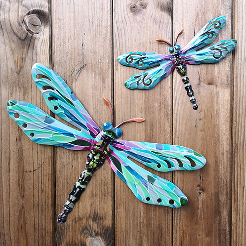 Turquoise Dragonfly Metal Wall Plaque