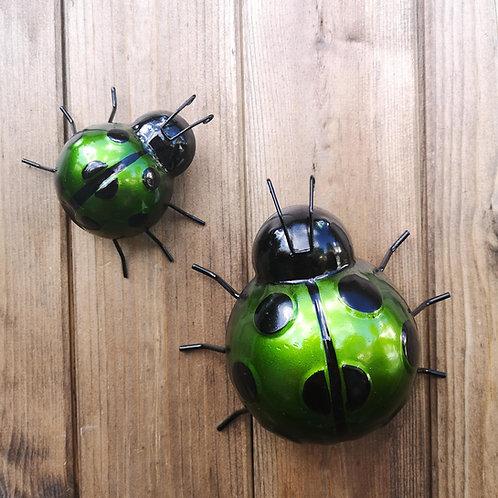 Green Metal Ladybirds
