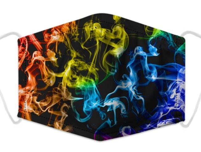 Multi Coloured Flame Print Face Mask