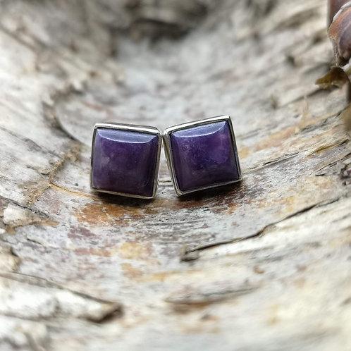 Charoite Stud Earrings