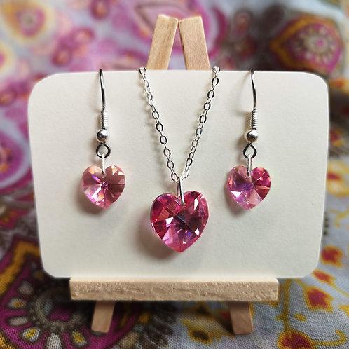 'Rose Pink' Swarovski Heart Jewellery Set