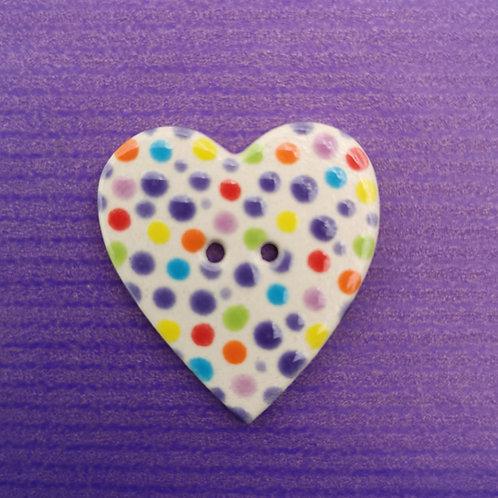 Rainbow Dotty Ceramic Heart Button