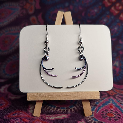 Grey/Lilac/Blue Curves Earrings