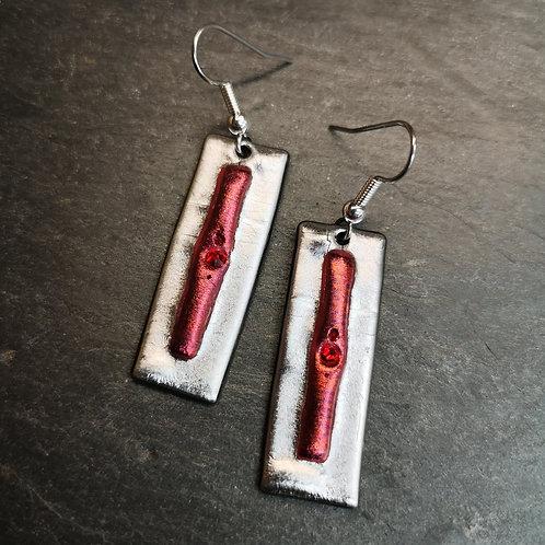 Silver Red Earrings