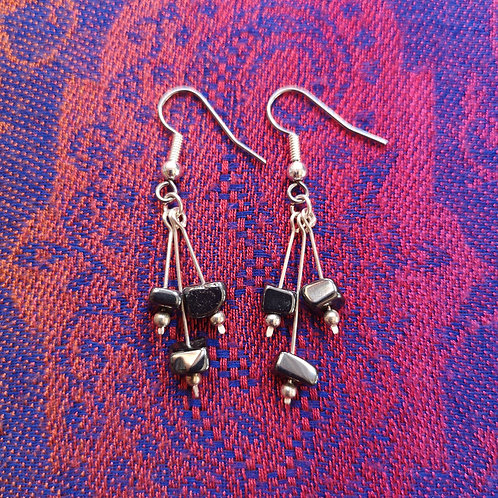 Leo Hematite Triple Drop Earrings