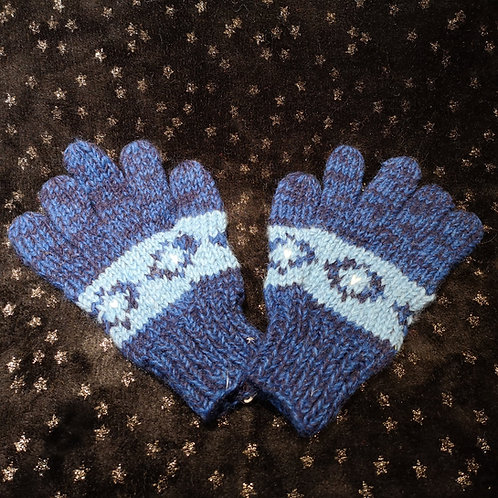 Blue Woolly Gloves