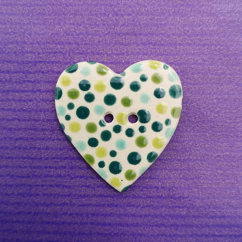 Green Dotty Ceramic Heart Button