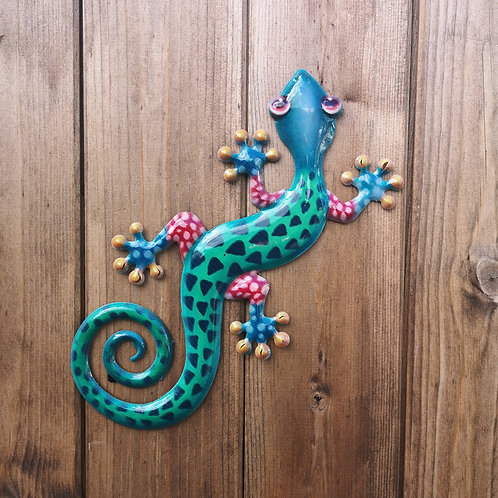 Turquoise Gecko Metal Wall Plaque
