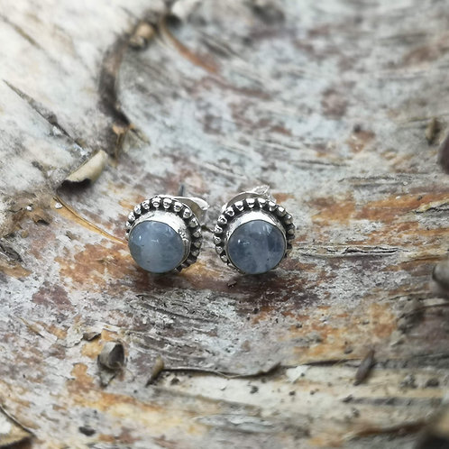 Silver Moonstone Stud Earrings