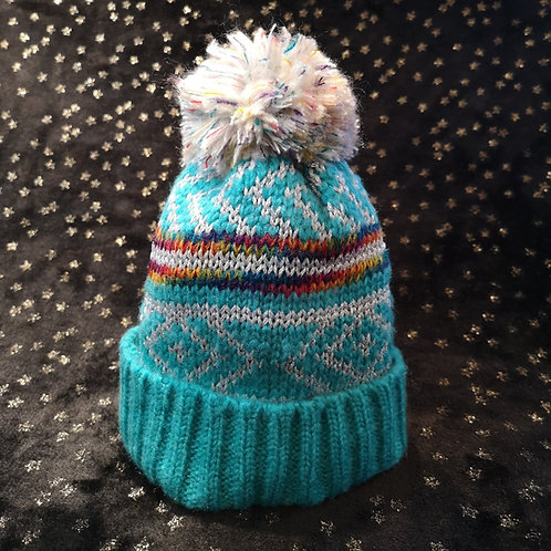 Silver Sparkle Bobble Hat
