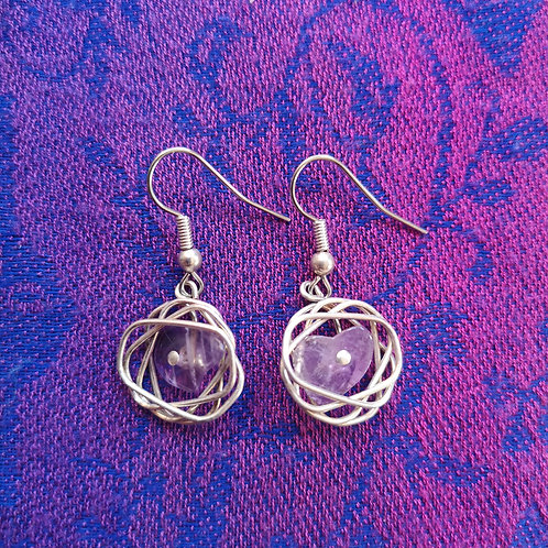 Aquarius Amethyst Squiggle Earrings