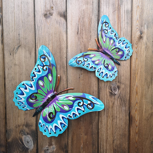 Turquoise Butterfly Metal Wall Plaque