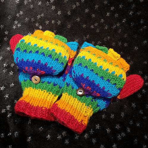 Rainbow Hooded Fingerless Gloves