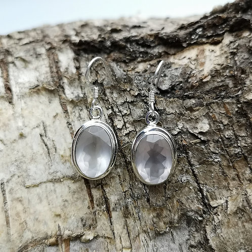 Faceted Silver Rose Quartz Earrings
