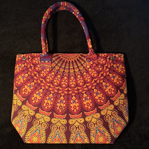 Maroon Mandala Shopping Bag