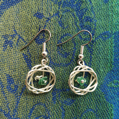Cancer Green Aventurine Squiggle Earrings