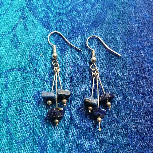 Taurus Lapis Lazuli Triple Drop Earrings