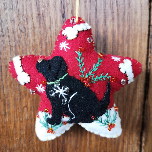 Black Dog Star Decoration