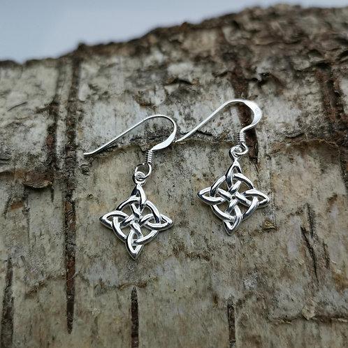 Celtic Knot Silver Drop Earrings