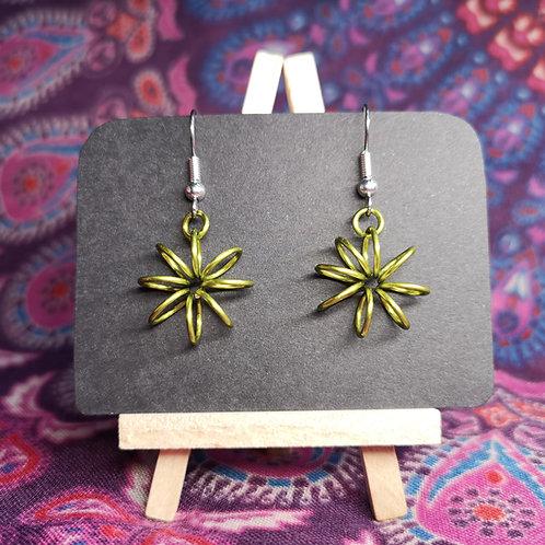 Lime Green Flower Earrings