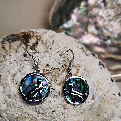 Paua Shell Cat Earrings