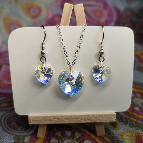 'Fairy Bubble' Swarovski Heart Jewellery Set