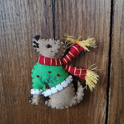 Brown Dog Christmas Decoration