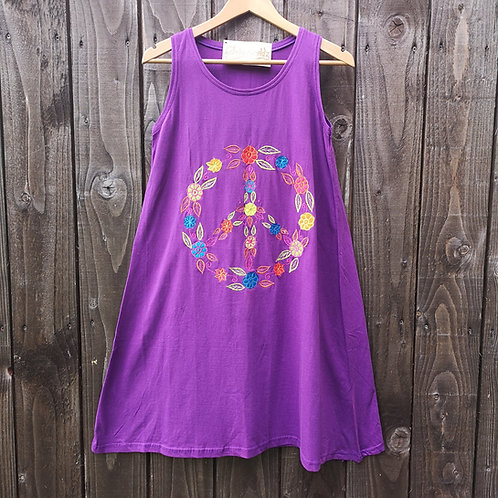 Peace & Flowers Dress Purple/Blue/Red