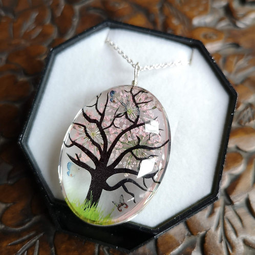 Pale Pink Blossom Tree Pendant Large