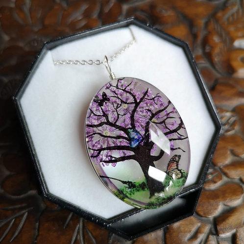 Purple Blossom Tree Pendant Large