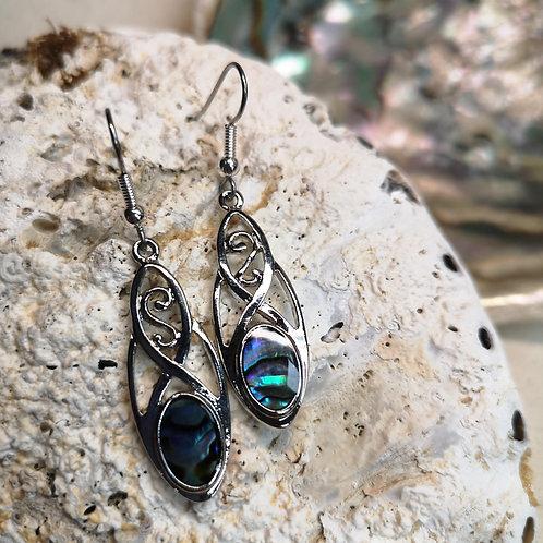 Paua Shell Celtic Earrings
