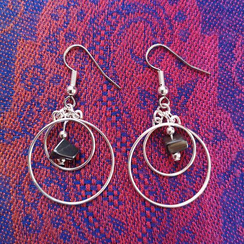 Leo Hematite Circles Earrings