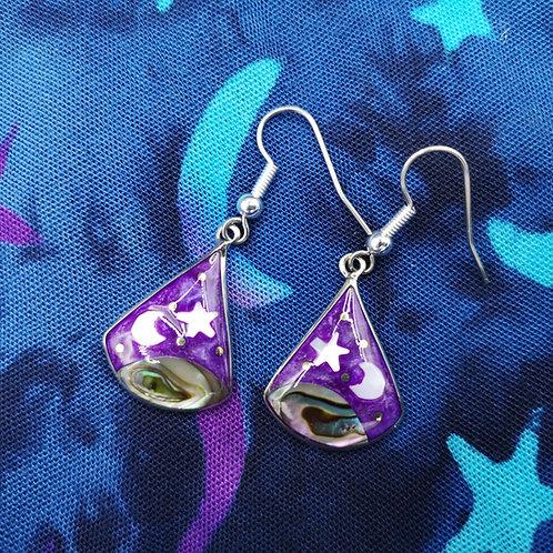 Purple Moon and Star Earrings