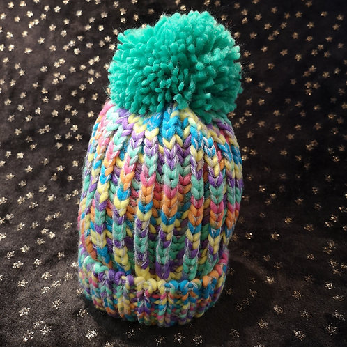 Child's Green Pastel Bobble Hat