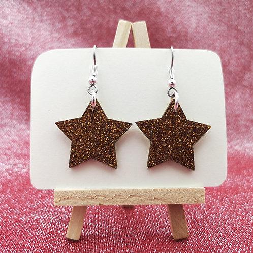 Glitter Star Earrings Copper