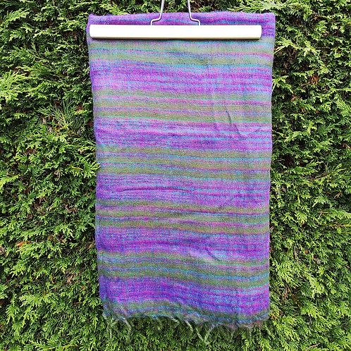 Purple & Green Stripy Blanket Scarf